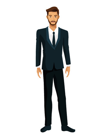 mature business man: man bearded suit business executive vector illustration eps 10 Illustration