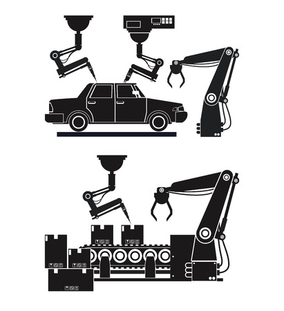 silhouette automated production line robotic factory banner vector illustration eps 10