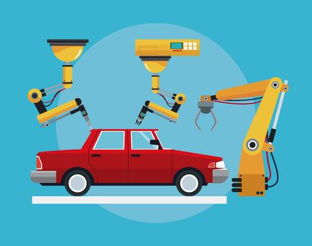conveyer: car assembly industrial robotic production line vector illustration eps 10 Illustration