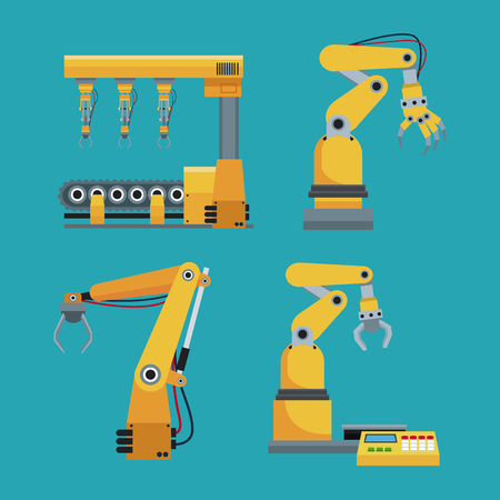 collection automated robotic industrial equipment green background vector illustration eps 10