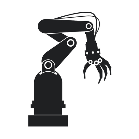 automaton: silhouette industrial robot hand tool vector illustration eps 10