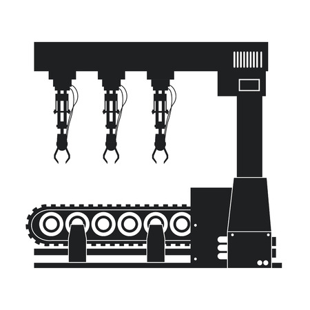 silhouette robotic production line machinery technology vector illustration eps 10