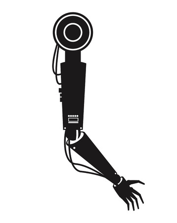 silhouette industrial robot arm industry factory vector illustration eps 10 Illustration