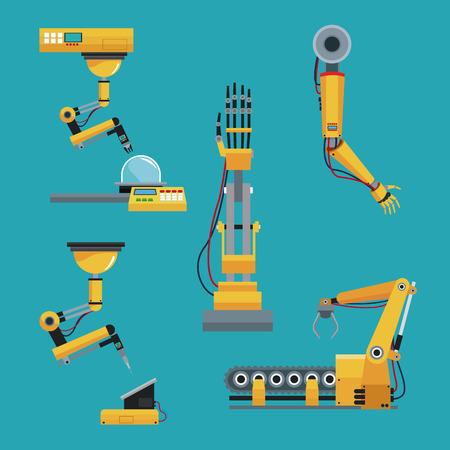collection robotic industrial equipment green background vector illustration eps 10 Vektorové ilustrace