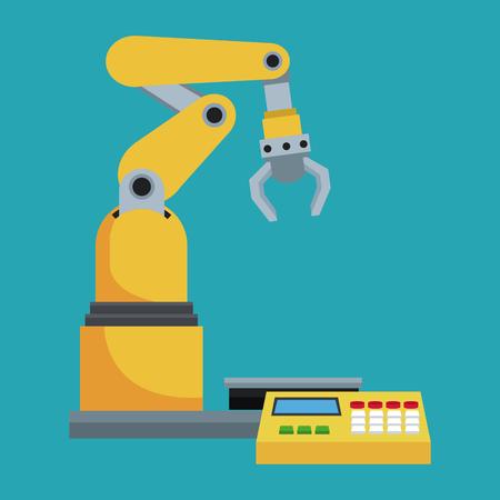 robótico línea de producción ilustración mecánico de fabricación del vector EPS 10