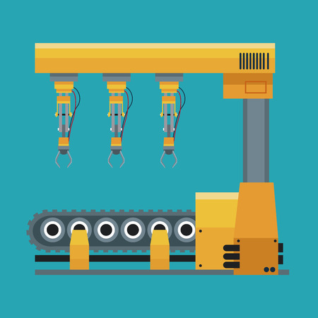 production line: robotic production line machinery technology vector illustration eps 10 Illustration