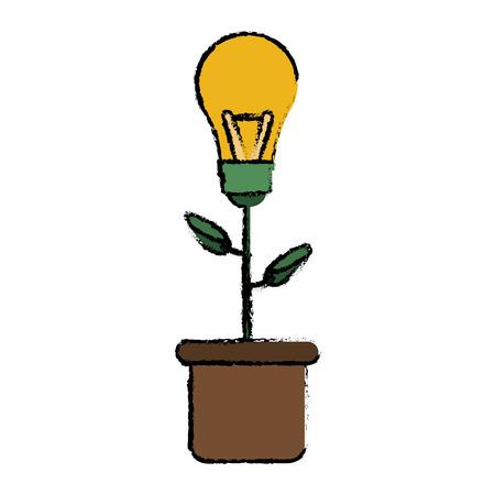 green bulb: green bulb idea plant pot sketch vector illustration eps 10 Illustration