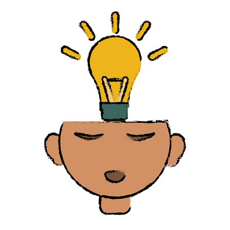 shifting: head thinking bulb idea innovation design vector illustration eps 10