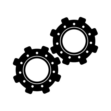 machined: two gear wheel engine teamwork vector illustration eps 10