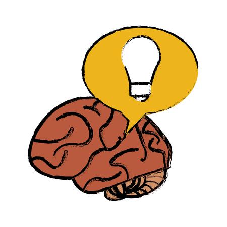 brain thinking idea yellow bubble sketch vector illustration eps 10
