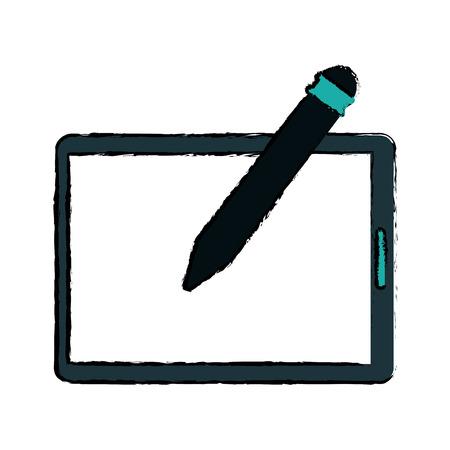 digitized: tablet pen digital technology sketch vector illustration eps 10 Illustration
