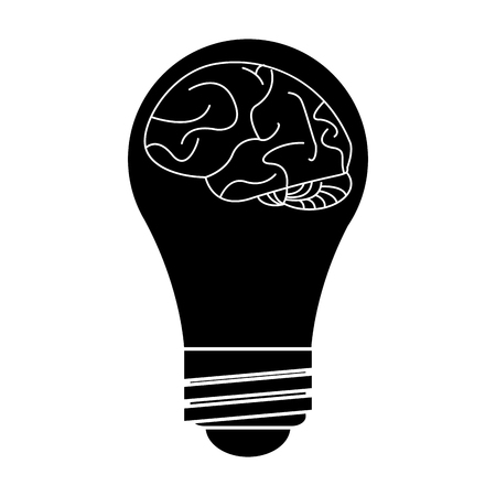 silhouette brain idea bulb concept vector illustration eps 10 Illustration