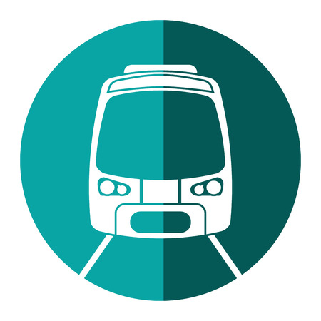 high speed rail: high speed train passenger rail road green circle vector illustration eps 10