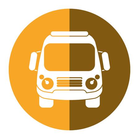 schoolbus: school bus student transport yellow circle vector ilustration eps 10 Illustration