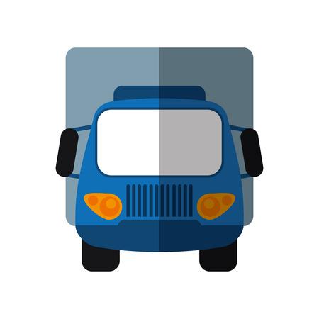 blue truck small cargo transportation shadow vector illustration eps 10
