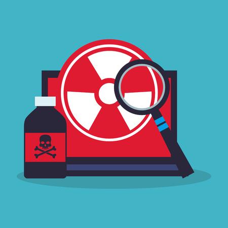 veneno frasco: Veneno botella portátil y el icono de lupe. la química de la ciencia del laboratorio y el tema de investigación. El diseño colorido. ilustración vectorial