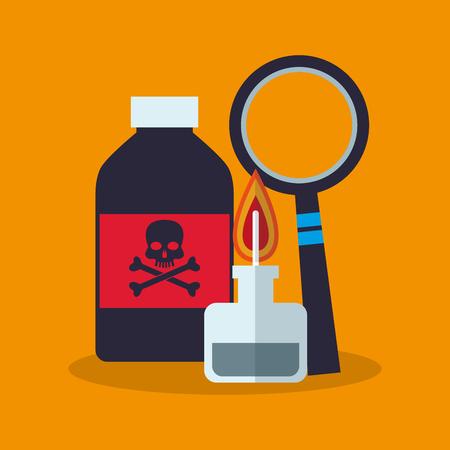 veneno frasco: Botella del veneno y el icono de lupe. la química de la ciencia del laboratorio y el tema de investigación. El diseño colorido. ilustración vectorial