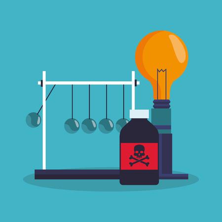 veneno frasco: Bulbo y el icono de la botella del veneno. la química de la ciencia del laboratorio y el tema de investigación. El diseño colorido. ilustración vectorial
