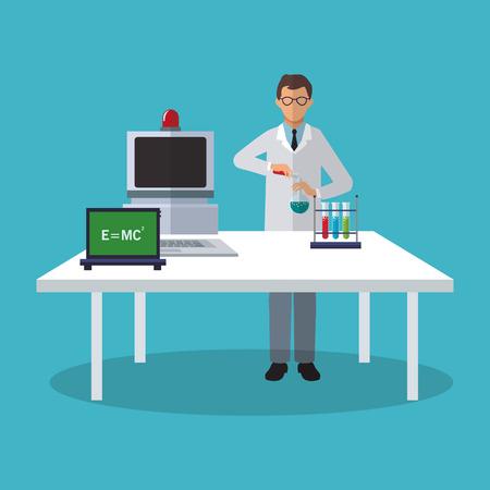 Scientific icon. laboratory science chemistry and research theme. Colorful design. Vector illustration Illustration