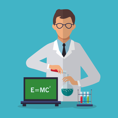Scientific icon. laboratory science chemistry and research theme. Colorful design. Vector illustration Illustration