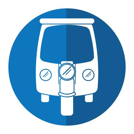 rikscha: Motor Rikscha-Dreirad blauen Kreis Vektor-Illustration eps 10 Illustration