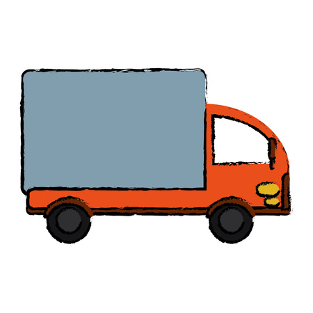 coachwork: drawing truck mini delivery cargo vector illusration eps 10