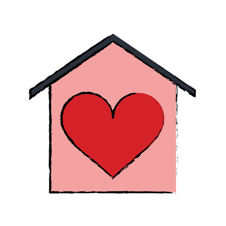 love icon: cartoon house love heart beauitful card vector illustration eps 10 Illustration
