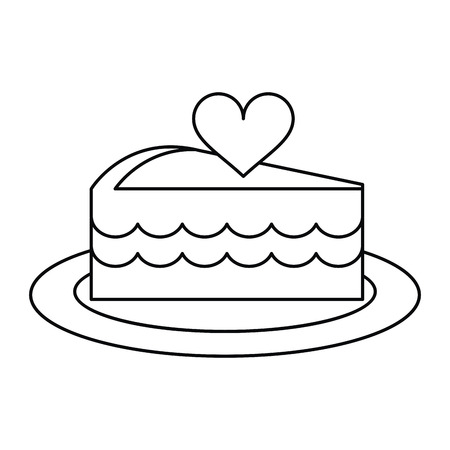 heart outline: delicious cake with love heart outline vector illustration eps 10