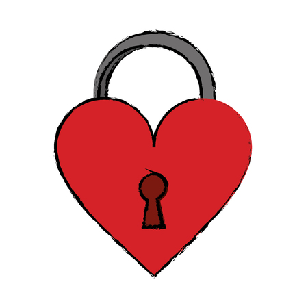 loved: cartoon padlock shaped heart loved vector illustration eps 10