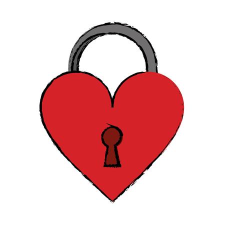 cartoon padlock shaped heart loved vector illustration eps 10