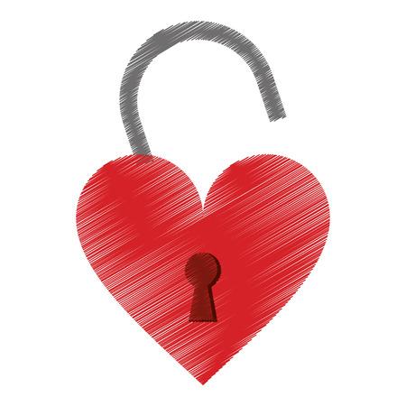 dessin cadenas en forme de coeur aimé illustration vectorielle eps 10
