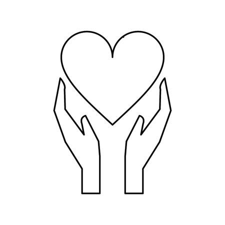 holds: hands holds heart love care outline vector illustration eps 10