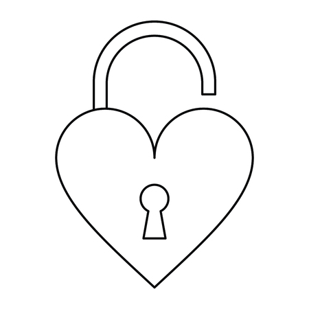 loved: padlock open shaped heart loved outline vector illustration eps 10