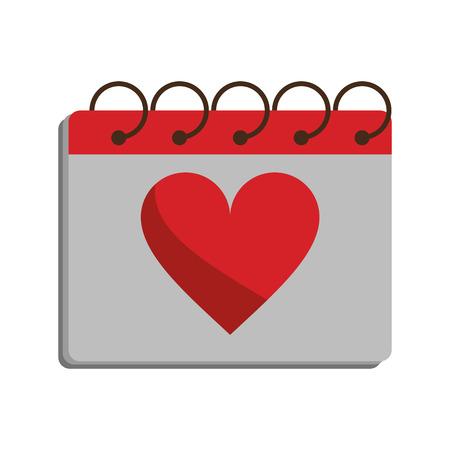life partners: valentine day calendar love heart date vector illustration eps 10