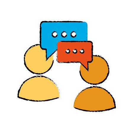 tweet balloon: drawing two character speech bubble message media vector illustration eps 10 Illustration