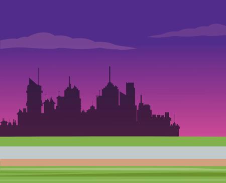 night road: silhouette city night road background vector illustration eps 10 Illustration