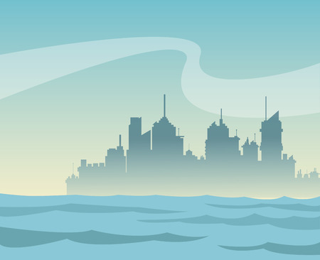 silhouette panorama city and river background vector illustration eps 10