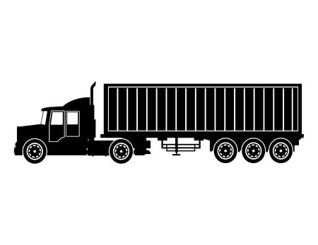 Silhouette LKW-Anhänger Container Lieferung Transport Vektor-Illustration eps 10 Vektorgrafik