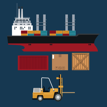 ship and forklift truck container boxes delivery vector illustration eps 10