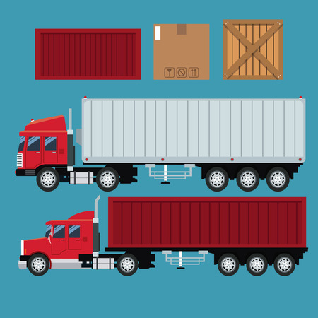 isoated: set trailer container delivery transport cardboard box vector illustration eps 10 Illustration