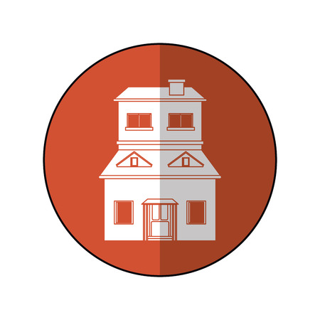 house suburban home brown circle shadow vector illustration eps 10