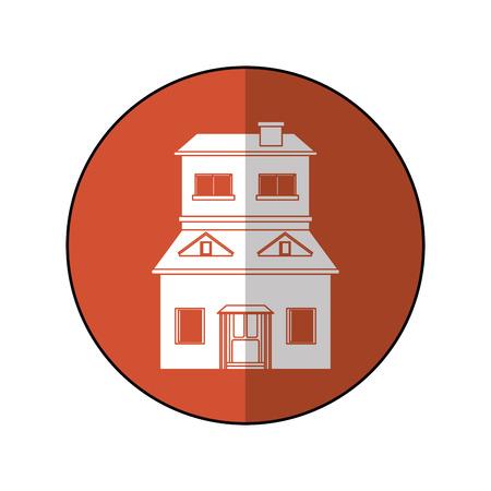 house suburban home brown circle shadow vector illustration eps 10