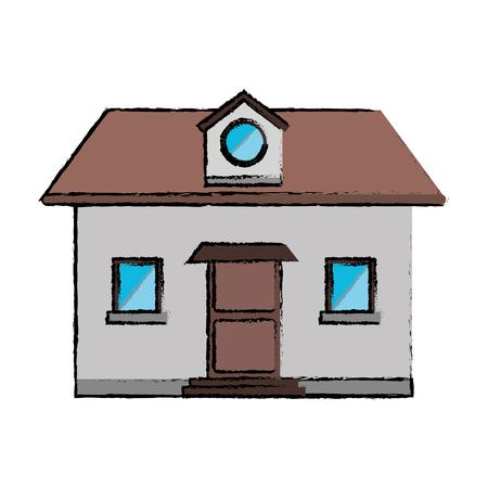 mansard: drawing front view home window loft vector illustration eps 10