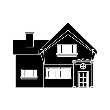 beautiful home chimney window pictograh vector illustration eps 10