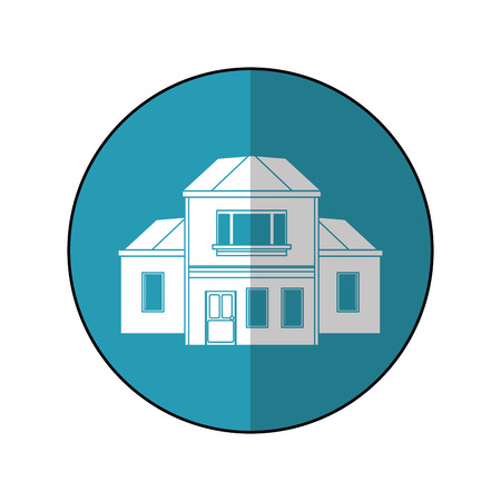 house traditional detailed modernn blue circle vector illustration eps 10
