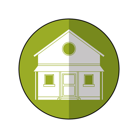 familiy: familiy house countryside green circle vector illustration eps 10