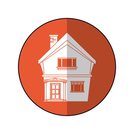 american house domestic chimney circle vector illustration eps 10