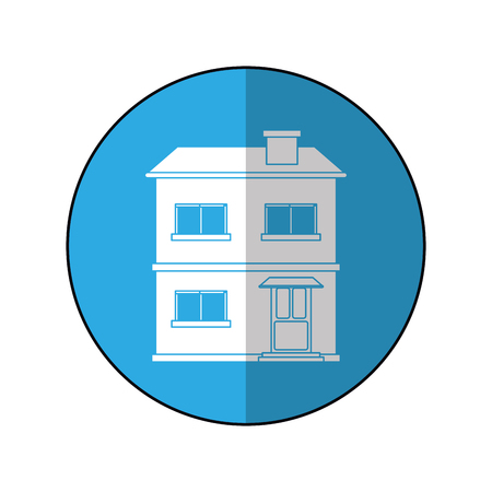 house facade residential estructure blue circle vector illustration eps 10