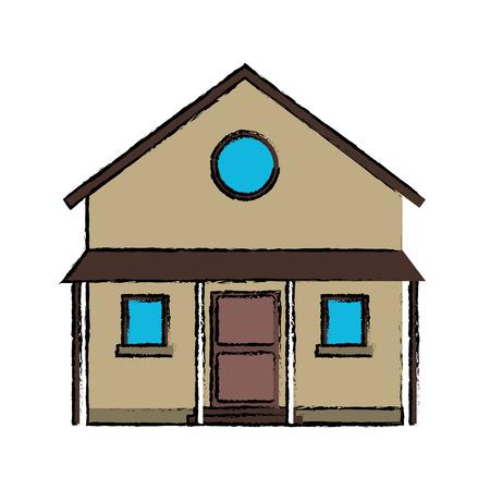 familiy: drawing familiy house countryside vector illustration eps 10 Illustration