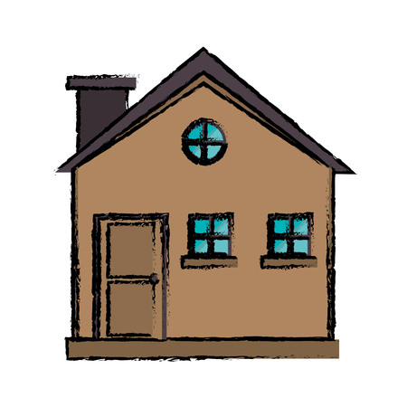 drawing cottage wooden chimney exterior vector illustration eps 10